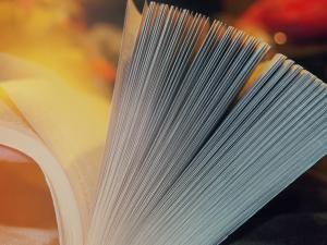 Buch blättert auf